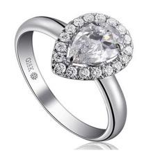 Maravillosa forma de pera Briliant diamante sintético moda anillo de bodas joyería