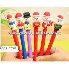 Stylos à bille Noël gros stocks, stylos de Noël, stylos à bille avec le père Noël et bonhomme de neige.