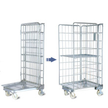 Folding Warehouse Storage Wire Mesh Trolley