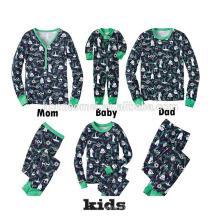 China fornecedor de roupas de moda por atacado de algodão adulto pijamas de natal em cor sólida