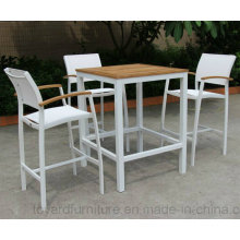 Bistro Bar Table High Chair Set Batyline Mesh Fabric White Powder-Coated Aluminum 4 Pieces Outdoor Patio Hotel Furniture Deck