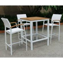 Бистро-барный стол Высокий набор стульев Батилайновая сетчатая ткань Белый порошковый алюминий 4 шт Наружная патио Мебель для гостиниц Палуба