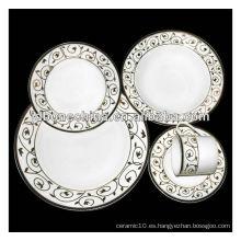 Rectangular forma cuadrada hueso china porcelana de cerámica café té conjunto vajilla