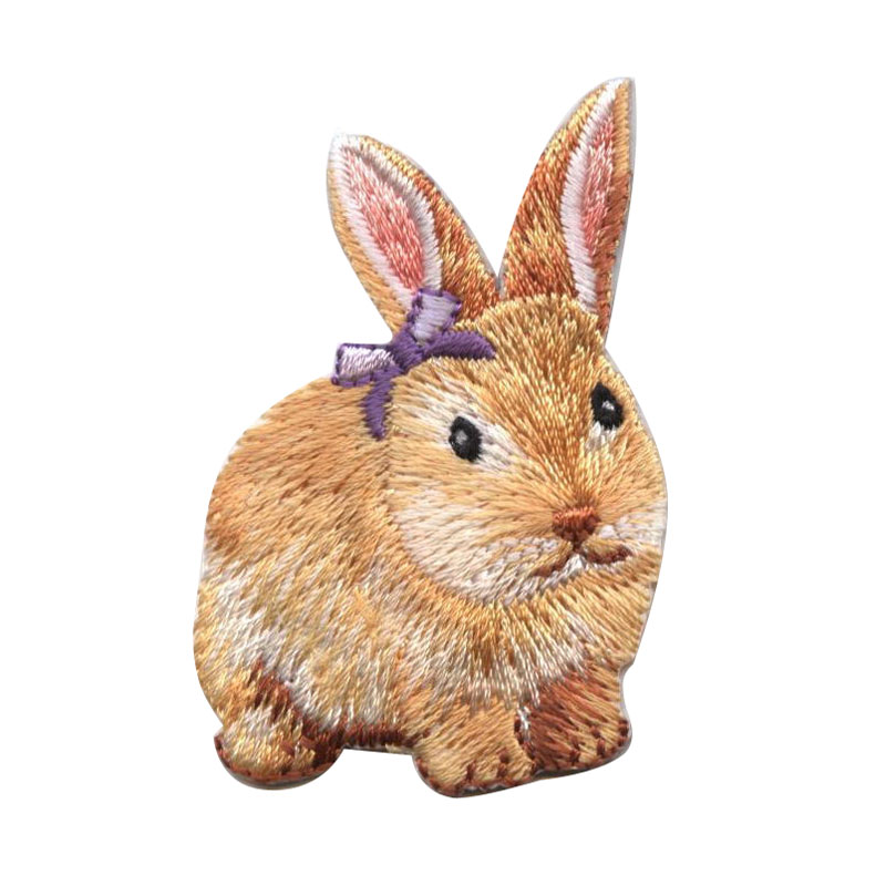 Brown Easter Bunny Rabbit Purple Bow Patch