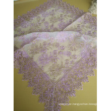St16-22 Pink Color Lace Fabric Tablecloth
