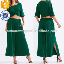 Twist Front Crop Top With Slit Pants Set Manufacture Wholesale Fashion Women Apparel (TA4058SS)