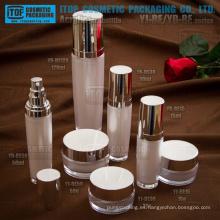 Venta caliente precio competitivo hermoso redondo forma buena calidad gama alta cosmética envases botellas y tarros de acrílico