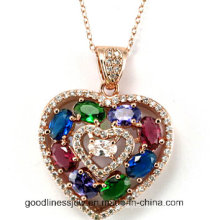Sterling Silver CZ Pendant, Heart Shape Pendant Fashion Pendant Jewelry P4971