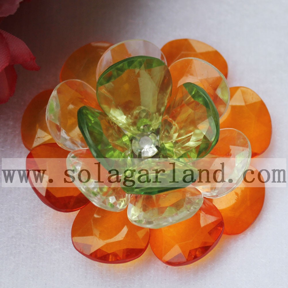 Acrylic Crystal Teardrop Bead Flower