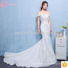 Baratos trompeta vestidos de boda blanco puro hecho en China