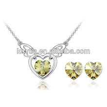 Alibaba express joyas yellow crystal heart earrings and necklace jewelry set