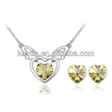 Alibaba выражают joyas желтые кристаллические серьги сердца и комплект ювелирных изделий ожерелья