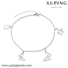 74525 Fashion Charm Rhodium Star Butterfly Imitation Stainless Steel Jewelry Anklet