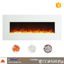 Réchauffeur de cheminée électrique mural miroir blanc de 50 po pour décoration