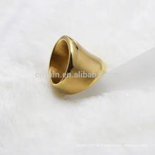 Punk Style Edelstahl Wide Gold Ring für Frauen