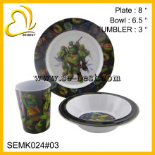 Turtles Boys Kids 3pc Dinnerware Dining Gift Set - Plate Bowl Tumbler Cup NEW