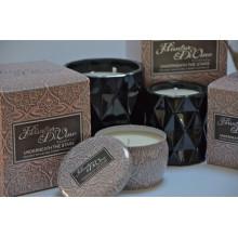 Luxo puro da vela do aroma da soja da lata 340g redonda na caixa