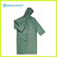 Impermeable largo verde de la seguridad del PVC del poliéster del PVC (Rpp-044)