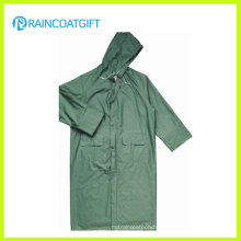 Green PVC Polyester PVC Long Safety Raincoat (Rpp-044)