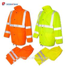 Serie de la economía clase 3 Hi Vis reflectante trajes de la capa de la lluvia Chaqueta de seguridad al por mayor a prueba de agua