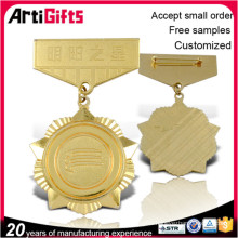 Promotional metal zinc alloy plating gold badge and tags medal