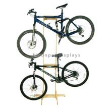 Design grátis Exposição de madeira simples Piso de pé Loja de ciclismo personalizada Loja de tela de bicicleta de fibra de madeira