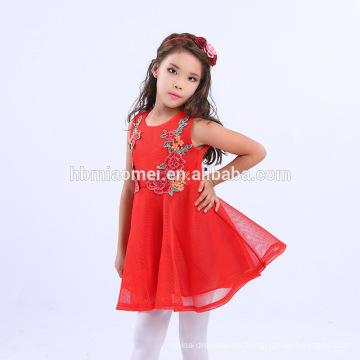 Vestido de niños bordados de flores Vestido de fiesta de niños de color rojo rosado