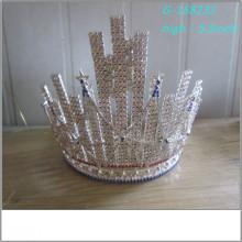Atacado Moda pérola grande concurso tiara cheio alto reis coroas imagens reis fotos coroas tiara