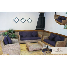 Antique design interior sofa set home furniture (acasia wooden frame, water hyacinth handmade woven)