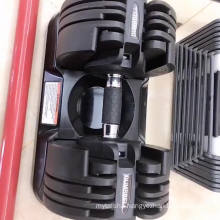 Wholesale Weight Trainer Gym Equipment Black 20kg Rotating handle Adjustable Dumbbell