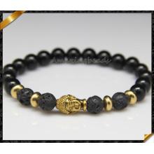 Мода 8мм природный камень Onyx Золотой Будда глава мужской браслет (CB0125)