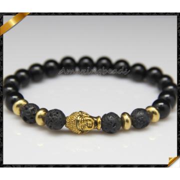 Moda 8 milímetros de pedra natural onyx ouro budista cabeça homens pulseira (CB0125)