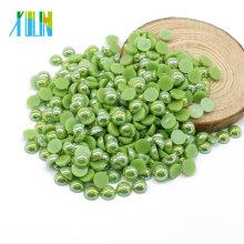 Großhandel A6-Green AB Farbe ABS Harz Flat Pearl Halbe Runde Perlen Perlen ohne Löcher