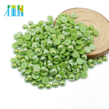 Comercio al por mayor A6-Green AB Color ABS resina plana perla media perlas redondas perlas sin agujeros