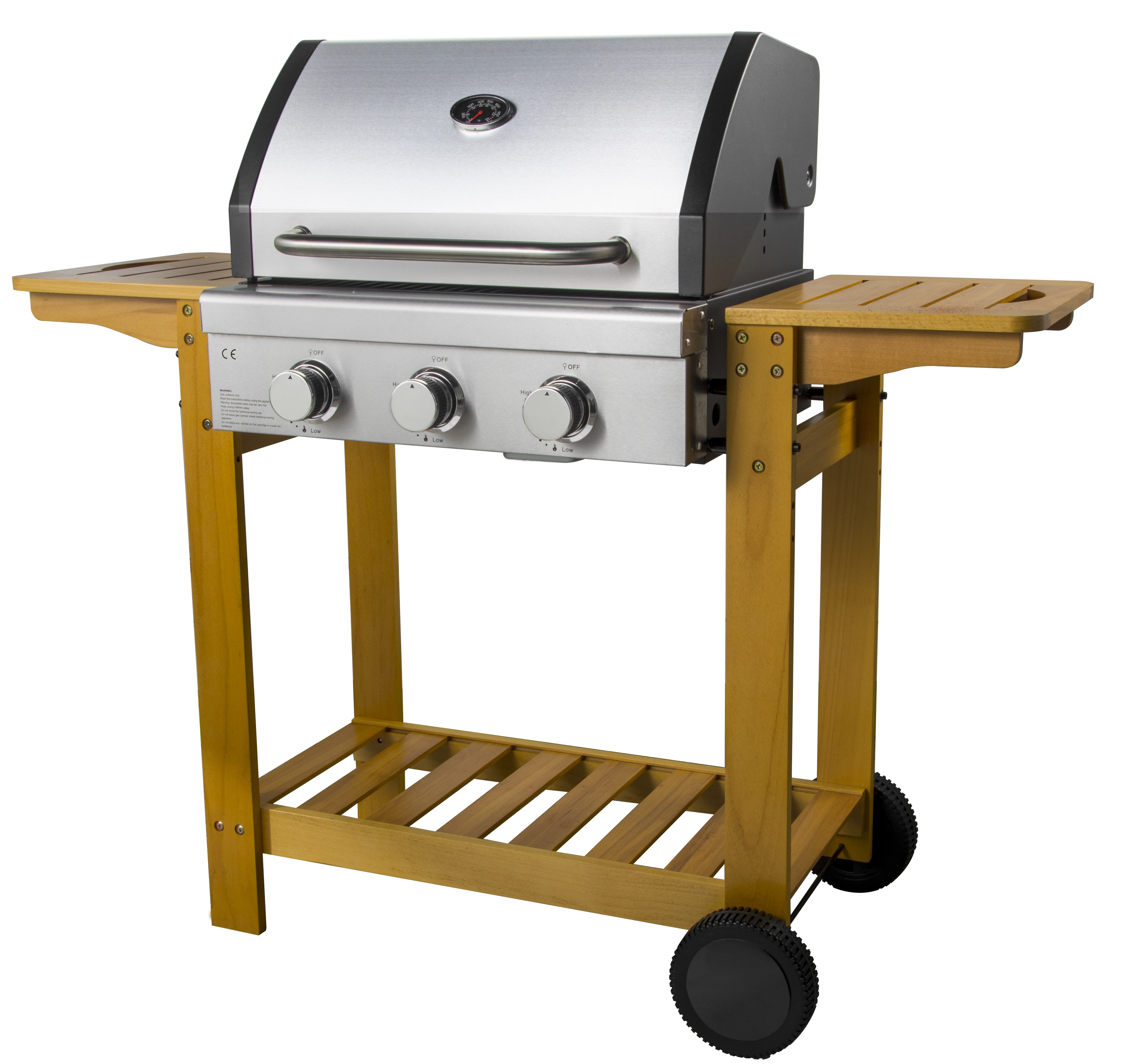 3 Burners Wooden Trolley BBQ Grill