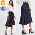 Fishtail Dip Hem Striped Skirt Manufacture Wholesale Fashion Women Apparel (TA3100S)