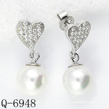 Neueste Styles Perlen Ohrringe 925 Silber (Q-6948)