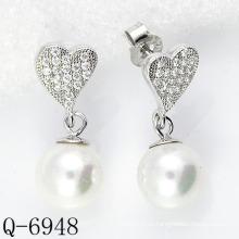 Los últimos estilos pendientes de la perla plata 925 (Q-6948)