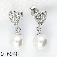 Latest Styles Pearl Earrings 925 Silver (Q-6948)