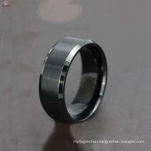 8MM latest wedding ring designs black titanium rings, wholesale stainless steel ring