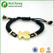 Fashion gold plated stainless steel cute teddy bear red black brown nylon rope bracelet