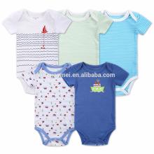 2017 neue Design Gestrickte Streifen Baby Baumwolle Strampler Set Infant Jungen Onesie Großhandel Kinder Fünf Stücke Baby Strampler Overall