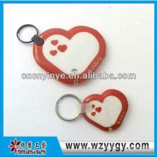 Publicidade de forma de coração para escola keychain de filme de PVC com led