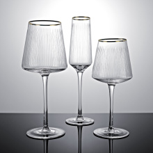 Vertical Etched Lines red Wine Glasses