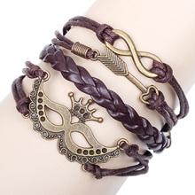 novo Halloween festa máscara & permitir infinito metal bronze pulseira acessórios atacado jóias de pulseira de cordão de couro marrom