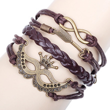 new Halloween party mask & allow bronze metal infinity bracelet accessories brown leather cord bracelet jewelry wholesale