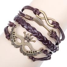 Baru Halloween pesta topeng & memungkinkan infinity logam perunggu aksesoris gelang kulit cokelat tali gelang perhiasan grosir