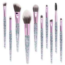 10pcs OEM Latest Beauty Needs Gradient Crystal Diamond Transparent Glitter Handle Beauty Makeup Brush Set Tools