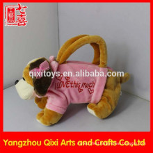 Wholesale plush toy hand bag cute valentine dog bag pink animal bag