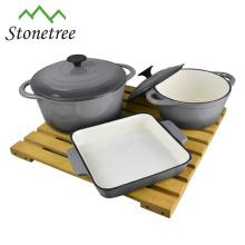 Enameled Grey Cast-Iron 5pcs enamel casserole set